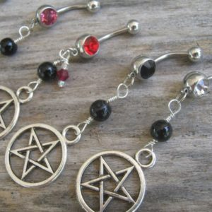 Pick One Pentacle Belly Ring, Black Agate Belly Button Ring, Birthstone Navel Piercing, Wicca Body Jewelry, Supernatural Pentagram Silver | Natural genuine Gemstone rings, simple unique handcrafted gemstone rings. #rings #jewelry #shopping #gift #handmade #fashion #style #affiliate #ad