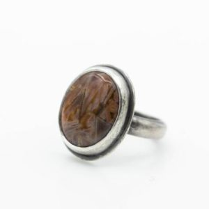 Shop Agate Rings! Turkish Agate Ring Sterling Silver Ring Le Chien Noir Artisan Ring Boho Jewelry Gift for Her Size 6.75   Natural genuine Agate rings, simple unique handcrafted gemstone rings. #rings #jewelry #shopping #gift #handmade #fashion #style #affiliate #ad