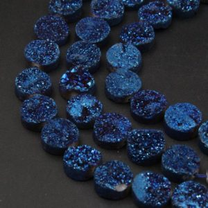 14MM Natural Druzy Agate Round Beads,Good Quality Blue Druzy Quartz Beads,Full 8 Inch One Strand/14PCS, Cabochon Sparkling Druzy Beads. | Natural genuine round Gemstone beads for beading and jewelry making.  #jewelry #beads #beadedjewelry #diyjewelry #jewelrymaking #beadstore #beading #affiliate #ad