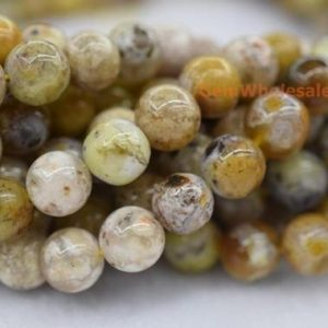 """Shop Agate Round Beads! 15.5"""" 10mm Natural Yellow Flower agate round beads, yellow brown semi-precious stone, nature agate beads, multi color agate FM 