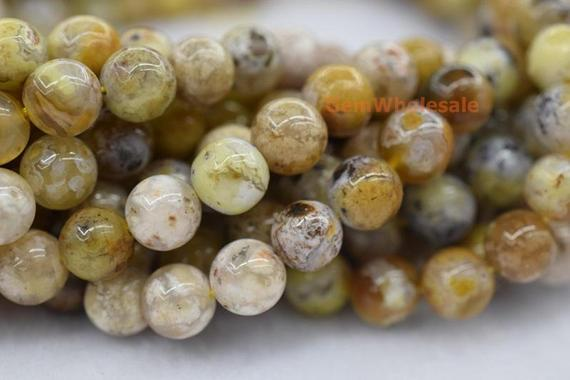 """15.5"""" 10mm Natural Yellow Flower Agate Round Beads, Yellow Brown Semi-precious Stone, Nature Agate Beads, Multi Color Agate Fm"""