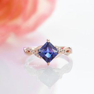 14K Solid Rose Gold Alexandrite Ring- Princess Cut Engagement Promise Ring- Color Changing Gemstone June Birthstone Anniversary Gift for Her | Natural genuine Gemstone rings, simple unique alternative gemstone engagement rings. #rings #jewelry #bridal #wedding #jewelryaccessories #engagementrings #weddingideas #affiliate #ad