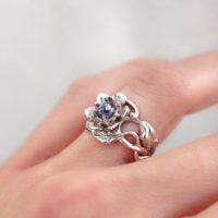 Art Nouveau Engagement Ring With Alexandrite, White Gold Flower Engagement Ring, Wide Band, Romantic Ring, Ring For Woman, Floral Jewelry | Natural genuine Gemstone jewelry. Buy handcrafted artisan wedding jewelry.  Unique handmade bridal jewelry gift ideas. #jewelry #beadedjewelry #gift #crystaljewelry #shopping #handmadejewelry #wedding #bridal #jewelry #affiliate #ad