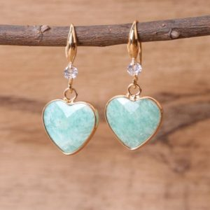 Natural Amazonite Drop Earrings-Heart Gemstone Dangle Earrings-Grounding Emotional Healing Balance Earrings-Stress Relief Courage Earrings | Natural genuine Amazonite earrings. Buy crystal jewelry, handmade handcrafted artisan jewelry for women.  Unique handmade gift ideas. #jewelry #beadedearrings #beadedjewelry #gift #shopping #handmadejewelry #fashion #style #product #earrings #affiliate #ad