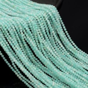 Shop Amazonite Faceted Beads! 2MM Light Blue Amazonite Gemstone Grade AAA Micro Faceted Round Beads 15.5 inch BULK LOT 1,2,6,12 and 50 (80010211-A192) | Natural genuine faceted Amazonite beads for beading and jewelry making.  #jewelry #beads #beadedjewelry #diyjewelry #jewelrymaking #beadstore #beading #affiliate #ad