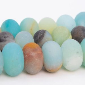 """Shop Amazonite Rondelle Beads! 10x6MM Matte Multicolor Amazonite Beads Grade A Genuine Natural Gemstone Rondelle Loose Beads 15"""" / 7.5"""" Bulk Lot Options (110714) 