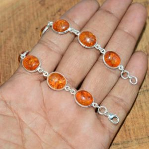 Shop Amber Bracelets! Lab Yellow Amber 925 Sterling Silver Oval Shape 9 Stone Adjustable Bracelet | Natural genuine Amber bracelets. Buy crystal jewelry, handmade handcrafted artisan jewelry for women.  Unique handmade gift ideas. #jewelry #beadedbracelets #beadedjewelry #gift #shopping #handmadejewelry #fashion #style #product #bracelets #affiliate #ad