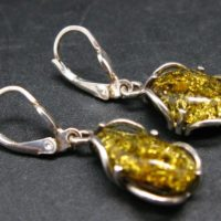 Nature's Time Capsule!! Natural Green Color Baltic Amber Dangle 925 Silver Leverback Earrings | Natural genuine Gemstone jewelry. Buy crystal jewelry, handmade handcrafted artisan jewelry for women.  Unique handmade gift ideas. #jewelry #beadedjewelry #beadedjewelry #gift #shopping #handmadejewelry #fashion #style #product #jewelry #affiliate #ad