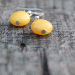 Amber Earrings / Yellow Natural Amber / Mellow Yellow / Modern Style Jewelry / Delicate Simple Earrings / Natural Beauty / Real Amber | Natural genuine Amber earrings. Buy crystal jewelry, handmade handcrafted artisan jewelry for women.  Unique handmade gift ideas. #jewelry #beadedearrings #beadedjewelry #gift #shopping #handmadejewelry #fashion #style #product #earrings #affiliate #ad