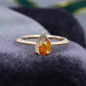 Pear shaped Amber engagement ring Yellow gold vintage engagement ring antique art deco Bridal Anniversary gift for her | Natural genuine Gemstone rings, simple unique alternative gemstone engagement rings. #rings #jewelry #bridal #wedding #jewelryaccessories #engagementrings #weddingideas #affiliate #ad