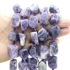 Shop Amethyst Chip & Nugget Beads! Chunky Natural Purple amethyst ,Rough Nugget Quartz beads,  Loose Stone  beads,Middle Drilled Irregular Crystal Beads strand -15.5inch-JS008 | Natural genuine chip Amethyst beads for beading and jewelry making.  #jewelry #beads #beadedjewelry #diyjewelry #jewelrymaking #beadstore #beading #affiliate #ad