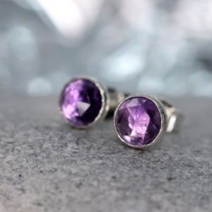Shop Amethyst Earrings! Amethyst Stud Earrings, February Birthstone Gift, Rose Cut Faceted Amethyst Stone, Sterling Silver Ear Studs, Purple Stone Earrings | Natural genuine Amethyst earrings. Buy crystal jewelry, handmade handcrafted artisan jewelry for women.  Unique handmade gift ideas. #jewelry #beadedearrings #beadedjewelry #gift #shopping #handmadejewelry #fashion #style #product #earrings #affiliate #ad