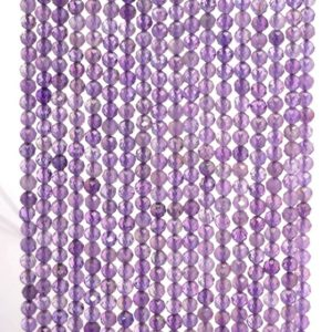 Shop Amethyst Faceted Beads! 3mm Royal Amethyst Gemstone Grade AA Light Purple Micro Faceted Round Loose Beads 15.5 inch Full Strand (90143441-107-3g) | Natural genuine faceted Amethyst beads for beading and jewelry making.  #jewelry #beads #beadedjewelry #diyjewelry #jewelrymaking #beadstore #beading #affiliate #ad