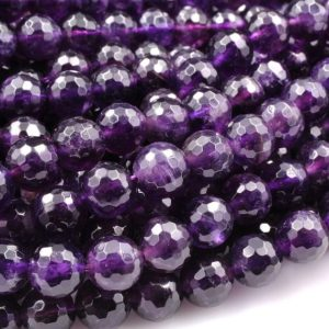 """Shop Amethyst Faceted Beads! Deep Purple Amethyst Faceted 6mm 8mm Round Beads Genuine Real Amethyst Gemstone Beads 15.5"""" Strand 