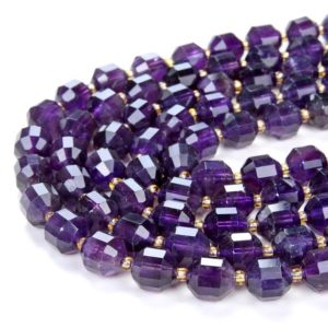Shop Amethyst Faceted Beads! Natural Amethyst Gemstone Grade AAA Faceted Prism Double Point Cut 8mm 10mm Loose Beads (D38) | Natural genuine faceted Amethyst beads for beading and jewelry making.  #jewelry #beads #beadedjewelry #diyjewelry #jewelrymaking #beadstore #beading #affiliate #ad