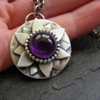 Silver Amethyst Lotus Flower Pendant Necklace Silver Amethyst Water Lily Pendant | Natural genuine Gemstone jewelry. Buy crystal jewelry, handmade handcrafted artisan jewelry for women.  Unique handmade gift ideas. #jewelry #beadedjewelry #beadedjewelry #gift #shopping #handmadejewelry #fashion #style #product #jewelry #affiliate #ad
