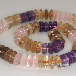 Shop Amethyst Rondelle Beads! 12x5mm Amethyst Lemon Smoky Rose Mix Quartz Gemstone Rondelle Loose Beads 8 inch Half Strand (90144183-B33-562)   Natural genuine rondelle Amethyst beads for beading and jewelry making.  #jewelry #beads #beadedjewelry #diyjewelry #jewelrymaking #beadstore #beading #affiliate #ad