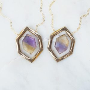 Diamond, Ametrine Crystal Necklace, Amethyst Citrine Pendant, Faceted Stone, bicolor Stone, Sterling Silver, Bronze, Gold Filled, gift For Her | Natural genuine Ametrine pendants. Buy crystal jewelry, handmade handcrafted artisan jewelry for women.  Unique handmade gift ideas. #jewelry #beadedpendants #beadedjewelry #gift #shopping #handmadejewelry #fashion #style #product #pendants #affiliate #ad