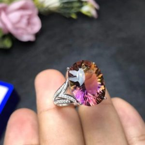 Shop Ametrine Jewelry! 100% Natural Ametrine Ring, Color Fire Ring, Ametrine Engagement Ring , 925 Sterling Silver, Anniversary & Wedding Ring, Gift For Her | Natural genuine Ametrine jewelry. Buy handcrafted artisan wedding jewelry.  Unique handmade bridal jewelry gift ideas. #jewelry #beadedjewelry #gift #crystaljewelry #shopping #handmadejewelry #wedding #bridal #jewelry #affiliate #ad
