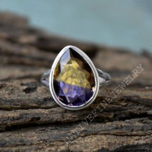 Shop Ametrine Rings! Bi Double Color Ametrine Quartz Ring- 925 Sterling Silver Ring -Pear Cut Ametrine Quartz Ring -Lovely Gift Ring- Ametrine Ring Jewelry | Natural genuine Ametrine rings, simple unique handcrafted gemstone rings. #rings #jewelry #shopping #gift #handmade #fashion #style #affiliate #ad