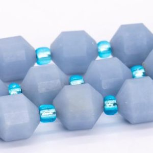"""Shop Angelite Beads! 8x7MM Blue Angelite Beads Faceted Bicone Barrel Drum Grade AA Genuine Natural Gemstone Loose Beads 15"""" Bulk Lot Options (115113) 