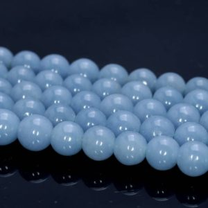 Shop Angelite Beads! 10 Strands 8mm 100% Genuine Angelite Gemstone Grade Aaa Deep Blue Smooth Round Loose Beads 15.5 Inch Full Strand Bulk Lot (80005178-458 X10) | Natural genuine round Angelite beads for beading and jewelry making.  #jewelry #beads #beadedjewelry #diyjewelry #jewelrymaking #beadstore #beading #affiliate #ad