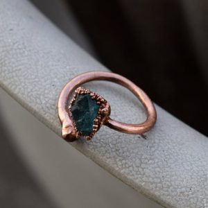 Apatite Ring | Gemstone Ring | Electroformed Ring | Snake Ring | Copper Ring | | Ring For Women | Open Ring | Boho Rings | Vintage Rings | Natural genuine Gemstone rings, simple unique handcrafted gemstone rings. #rings #jewelry #shopping #gift #handmade #fashion #style #affiliate #ad