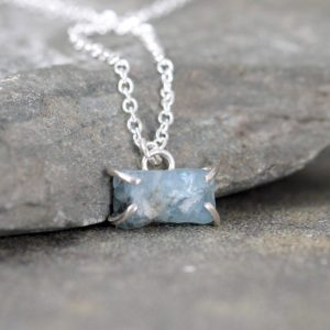 Shop Aquamarine Pendants! March Birthstone Necklace – Aquamarine Pendant – Raw Uncut Blue Aquamarine – Gemstone Jewellery Made in Canada – Sterling Silver | Natural genuine Aquamarine pendants. Buy crystal jewelry, handmade handcrafted artisan jewelry for women.  Unique handmade gift ideas. #jewelry #beadedpendants #beadedjewelry #gift #shopping #handmadejewelry #fashion #style #product #pendants #affiliate #ad