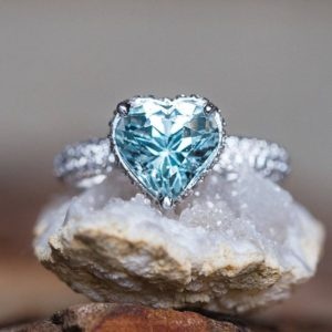 Aquamarine Engagement Ring – Adeline Ring with 9mm Heart cut Aquamarine by Laurie Sarah – LS5289 | Natural genuine Array rings, simple unique alternative gemstone engagement rings. #rings #jewelry #bridal #wedding #jewelryaccessories #engagementrings #weddingideas #affiliate #ad