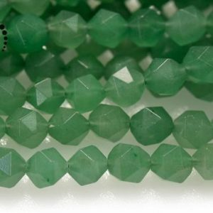 """Shop Aventurine Chip & Nugget Beads! Green Aventurine Faceted Nugget Star Cut Beads, Diamond Cut Bead, Nugget Beads, Natural, Gemstone, 6mm 8mm, 15"""" Full Strand 