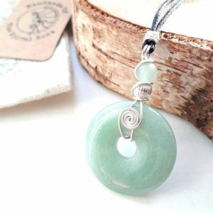 Aventurine donut pendant, layering Necklace, wire wrapped Stone Pendant, talisman crystal healing gift for her. | Natural genuine Gemstone pendants. Buy crystal jewelry, handmade handcrafted artisan jewelry for women.  Unique handmade gift ideas. #jewelry #beadedpendants #beadedjewelry #gift #shopping #handmadejewelry #fashion #style #product #pendants #affiliate #ad