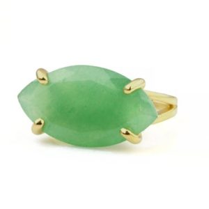 Shop Aventurine Rings! Wide Marquise Cut Aventurine Ring · Green Gemstone Ring · Green Aventurine Ring · Statement Ring · Gold Filled Ring · Semiprecious Ring | Natural genuine Aventurine rings, simple unique handcrafted gemstone rings. #rings #jewelry #shopping #gift #handmade #fashion #style #affiliate #ad