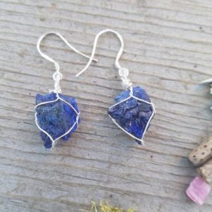 Shop Azurite Earrings! Dark blue gem azurite crystals in fine silver with sterling silver hooks, azurite crystal earrings, gem azurite earrings, silver earring | Natural genuine Azurite earrings. Buy crystal jewelry, handmade handcrafted artisan jewelry for women.  Unique handmade gift ideas. #jewelry #beadedearrings #beadedjewelry #gift #shopping #handmadejewelry #fashion #style #product #earrings #affiliate #ad