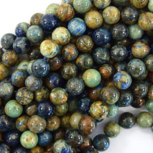 """Shop Azurite Beads! Natural Green Blue Azurite Round Beads Gemstone 15.5"""" Strand 6mm 8mm 10mm   Natural genuine beads Azurite beads for beading and jewelry making.  #jewelry #beads #beadedjewelry #diyjewelry #jewelrymaking #beadstore #beading #affiliate #ad"""