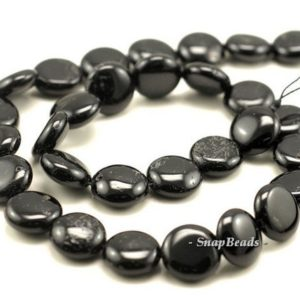 Shop Black Tourmaline Bead Shapes! 14mm Black Tourmaline Gemstone Button Loose Beads 7.5 inch Half Strand (90191401-B8-515) | Natural genuine other-shape Black Tourmaline beads for beading and jewelry making.  #jewelry #beads #beadedjewelry #diyjewelry #jewelrymaking #beadstore #beading #affiliate #ad