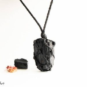 Raw Tourmaline Necklace, Raw Black Tourmaline Necklace, Raw Black Tourmaline Pendant, Tourmaline Jewelry, Jet Black, Crystal Necklaces | Natural genuine Gemstone pendants. Buy crystal jewelry, handmade handcrafted artisan jewelry for women.  Unique handmade gift ideas. #jewelry #beadedpendants #beadedjewelry #gift #shopping #handmadejewelry #fashion #style #product #pendants #affiliate #ad