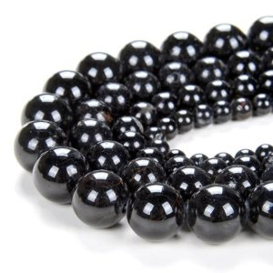 Shop Black Tourmaline Round Beads! Natural Black Tourmaline Gemstone Grade A Round 6MM 8MM 10MM 12MM Beads (D69) | Natural genuine round Black Tourmaline beads for beading and jewelry making.  #jewelry #beads #beadedjewelry #diyjewelry #jewelrymaking #beadstore #beading #affiliate #ad