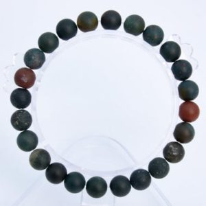 """Shop Bloodstone Bracelets! 8mm Matte Dark Green Blood Stone Beads Bracelet Grade Aaa Genuine Natural Round Gemstone 7"""" Bulk Lot 1, 3, 5, 10 And 50 (106749h-075) 