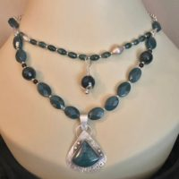 Rich Blue-green Bloodstone Jasper Pendant, Double Strand Necklace, Silver Setting, Faceted Jasper Beads, Silver Chain, Western Style | Natural genuine Gemstone jewelry. Buy crystal jewelry, handmade handcrafted artisan jewelry for women.  Unique handmade gift ideas. #jewelry #beadedjewelry #beadedjewelry #gift #shopping #handmadejewelry #fashion #style #product #jewelry #affiliate #ad