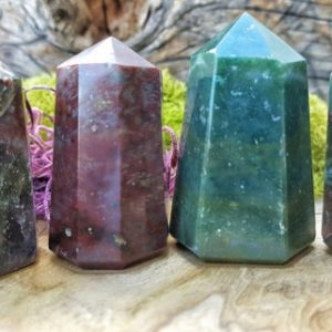Shop Gemstone Points & Wands! Bloodstone Crystal Tower Point –  50 | Natural genuine stones & crystals in various shapes & sizes. Buy raw cut, tumbled, or polished gemstones for making jewelry or crystal healing energy vibration raising reiki stones. #crystals #gemstones #crystalhealing #crystalsandgemstones #energyhealing #affiliate #ad