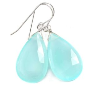 Shop Blue Chalcedony Earrings! Aqua Blue Chalcedony Earrings 14k Solid Gold Or Filled Or Sterling Silver Teardrop Pear Shaped Faceted Soft Pale Blue Long Large Drops | Natural genuine Blue Chalcedony earrings. Buy crystal jewelry, handmade handcrafted artisan jewelry for women.  Unique handmade gift ideas. #jewelry #beadedearrings #beadedjewelry #gift #shopping #handmadejewelry #fashion #style #product #earrings #affiliate #ad