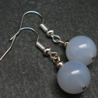 Minimalist And Chic Design – 10mm Natural Blue Chalcedony Round Beads Dangle Shepherd Hook Earrings From Turkey | Natural genuine Gemstone jewelry. Buy crystal jewelry, handmade handcrafted artisan jewelry for women.  Unique handmade gift ideas. #jewelry #beadedjewelry #beadedjewelry #gift #shopping #handmadejewelry #fashion #style #product #jewelry #affiliate #ad