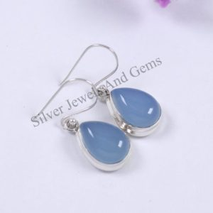 Shop Blue Chalcedony Earrings! Natural Blue Chalcedony Earrings, Handmade Silver Earrings, 925 Sterling Silver, Teardrop Chalcedony Earrings, Sagittarius Birthstone | Natural genuine Blue Chalcedony earrings. Buy crystal jewelry, handmade handcrafted artisan jewelry for women.  Unique handmade gift ideas. #jewelry #beadedearrings #beadedjewelry #gift #shopping #handmadejewelry #fashion #style #product #earrings #affiliate #ad