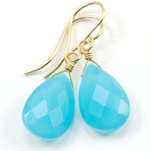 Shop Blue Chalcedony Earrings! Blue Chalcedony Earrings Teardrop Pear Faceted 14k Solid Gold or Filled or Sterling Silver Rich Sky Blue Simple Dainty Drops Spyglass Design | Natural genuine Blue Chalcedony earrings. Buy crystal jewelry, handmade handcrafted artisan jewelry for women.  Unique handmade gift ideas. #jewelry #beadedearrings #beadedjewelry #gift #shopping #handmadejewelry #fashion #style #product #earrings #affiliate #ad