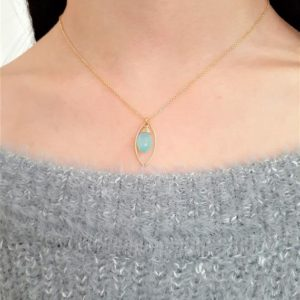 Blue Chalcedony Necklace, Worn on The Fosters / Handmade Jewelry / Necklaces for Women, Simple Gold Necklace, Chalcedony Pendant Necklace | Natural genuine Blue Chalcedony necklaces. Buy crystal jewelry, handmade handcrafted artisan jewelry for women.  Unique handmade gift ideas. #jewelry #beadednecklaces #beadedjewelry #gift #shopping #handmadejewelry #fashion #style #product #necklaces #affiliate #ad