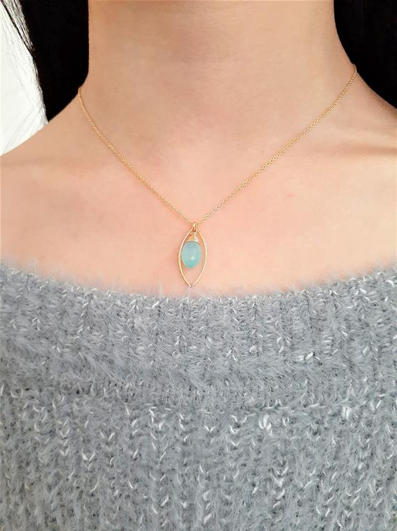 Blue Chalcedony Necklace, Worn On The Fosters / Handmade Jewelry / Necklaces For Women, Simple Gold Necklace, Chalcedony Pendant Necklace