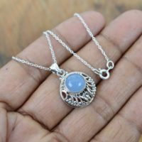 Blue Chalcedony 925 Sterling Silver Gemstone Chain Pendant W / Or W / o Chain | Natural genuine Gemstone jewelry. Buy crystal jewelry, handmade handcrafted artisan jewelry for women.  Unique handmade gift ideas. #jewelry #beadedjewelry #beadedjewelry #gift #shopping #handmadejewelry #fashion #style #product #jewelry #affiliate #ad