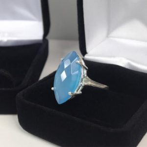Shop Blue Chalcedony Rings! GENUINE 6.5ct Marquise Cut Turquoise Blue Chalcedony Ring Sterling Silver Size 6 7 8 9 Trending Jewelry Gift Mom Wife Daughter Bridal | Natural genuine Blue Chalcedony rings, simple unique alternative gemstone engagement rings. #rings #jewelry #bridal #wedding #jewelryaccessories #engagementrings #weddingideas #affiliate #ad