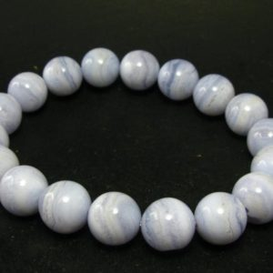"""Shop Blue Lace Agate Bracelets! Fine Blue Lace Agate Round Beads Bracelet – 7"""" – 12mm Round Beads 