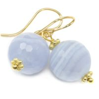 Blue Lace Agate Earrings 14k Solid Gold Or Filled Or Sterling Silver Faceted Round Dangle Drops Natural Banding Soft Blue Simple Drops | Natural genuine Gemstone jewelry. Buy crystal jewelry, handmade handcrafted artisan jewelry for women.  Unique handmade gift ideas. #jewelry #beadedjewelry #beadedjewelry #gift #shopping #handmadejewelry #fashion #style #product #jewelry #affiliate #ad